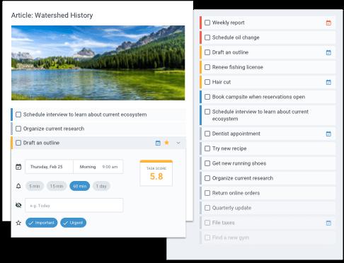 Organizing tasks via Task Score